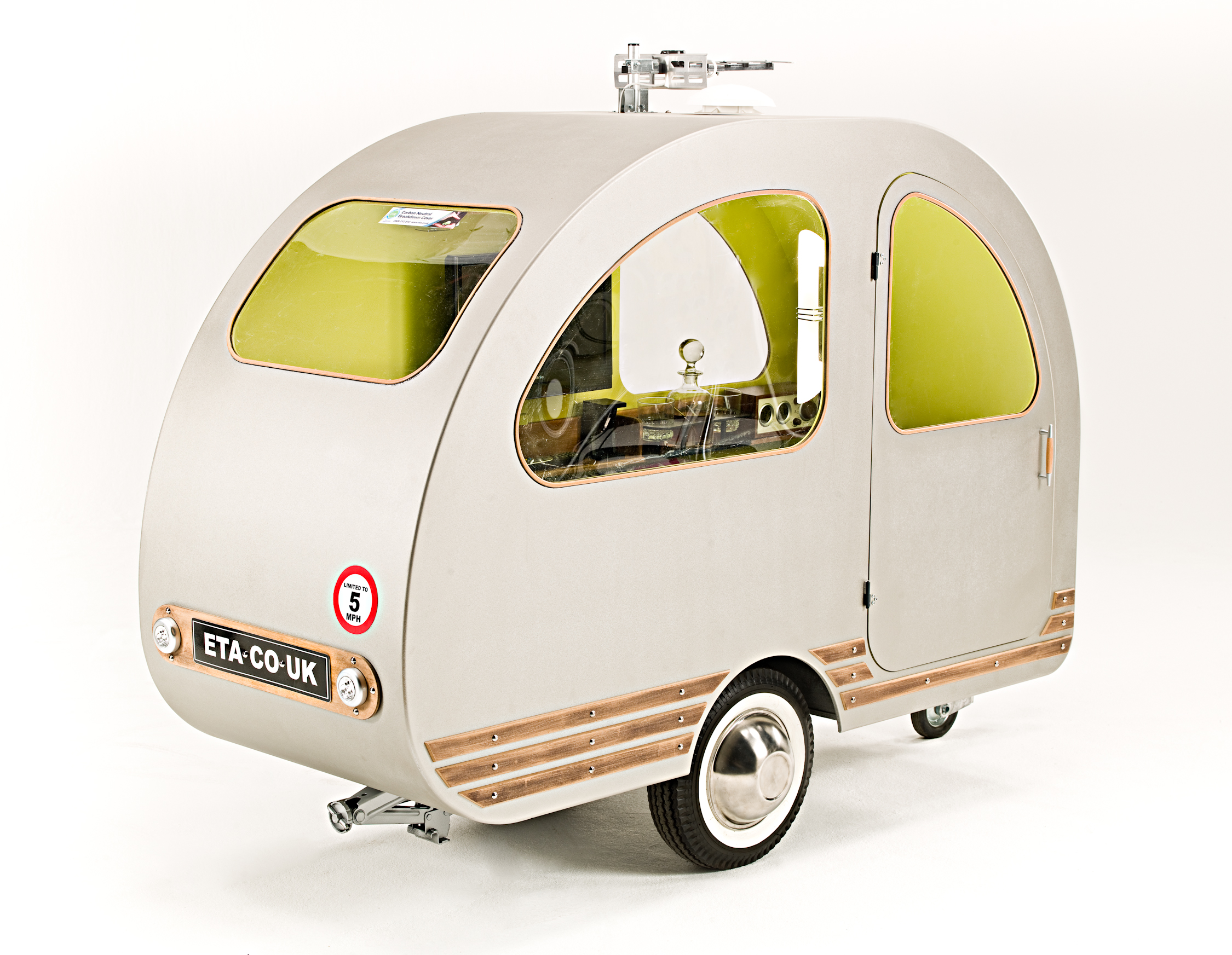 The caravan designed to be towed behind a bicycle