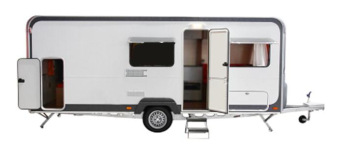 white caravan
