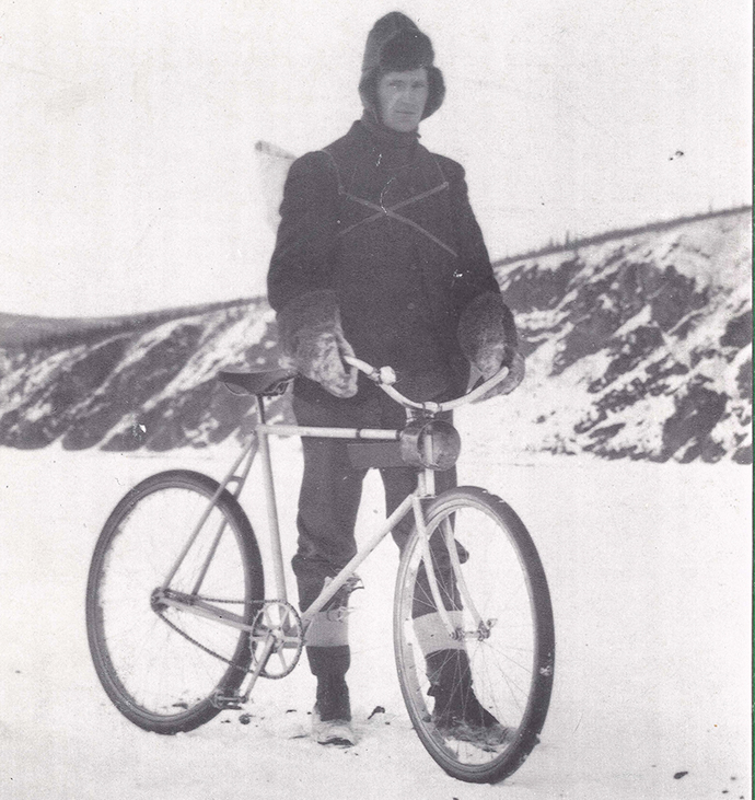 cyclist winter circa 1900