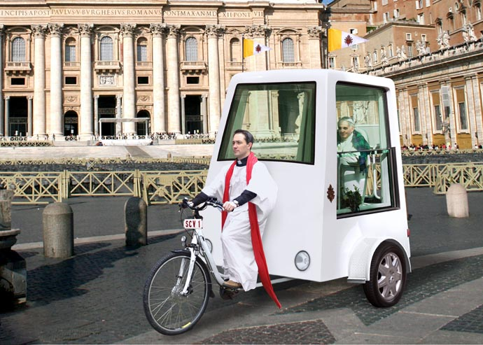 Yannick Read Pedal-powered Popemobile