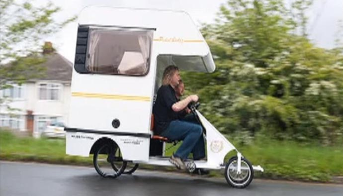 unusual tiny rvs.  The cramper van A tiny pedal powered motorhome