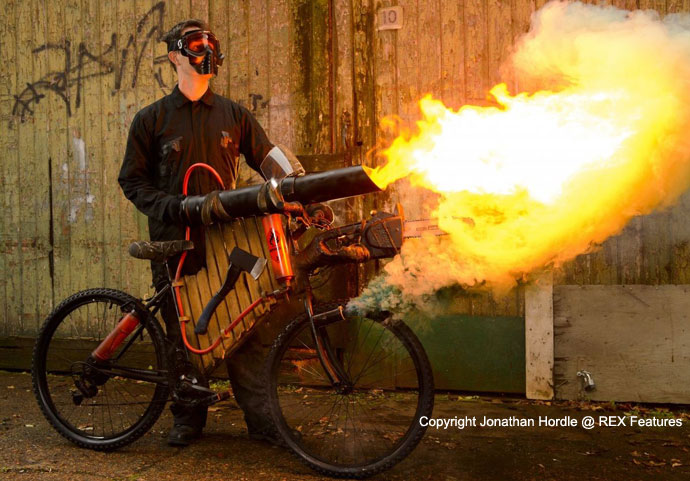 ETA zombie proof bike flamethrower