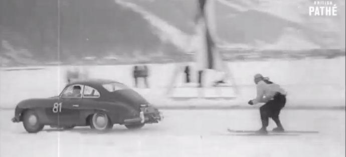 skiing behind a Porsche