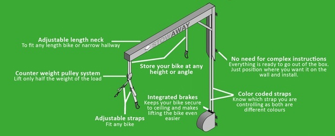 stowaway bicycle hoist