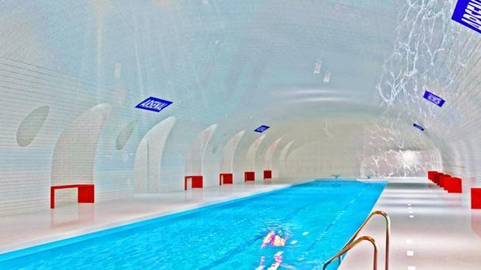 tube station as swimming pool