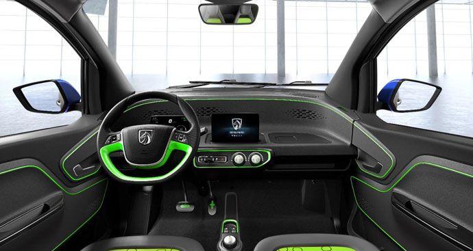 e100 electric car interior