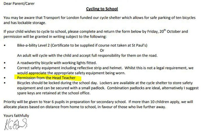 school rules on cycling