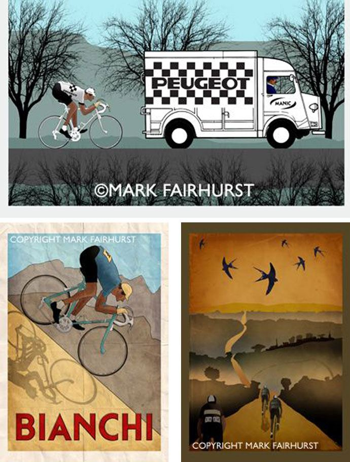 cycling art poster