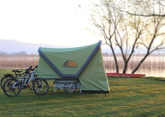 pop-up inflatable bicycle caravan
