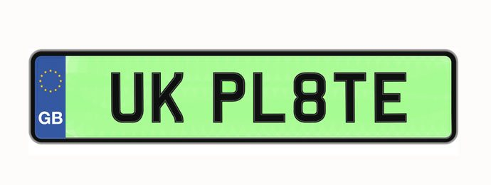 green number plate for low-emission vehicle