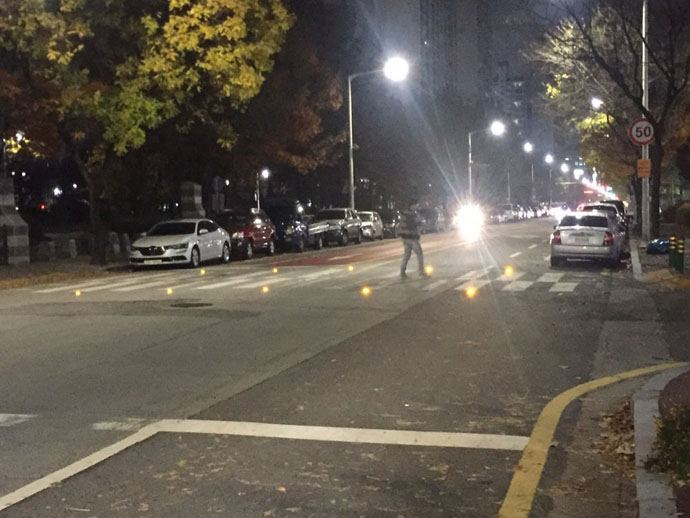 zebra crossing with LEDs