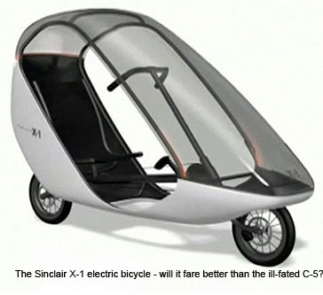 Clive Sinclair is best remembered for his ill-fated battery-powered trike the C-5 u2013 a vehicle which despite being derided as dangerous and under-powered ... & Sinclair launches X-1 electric bubble bicycle | ETA